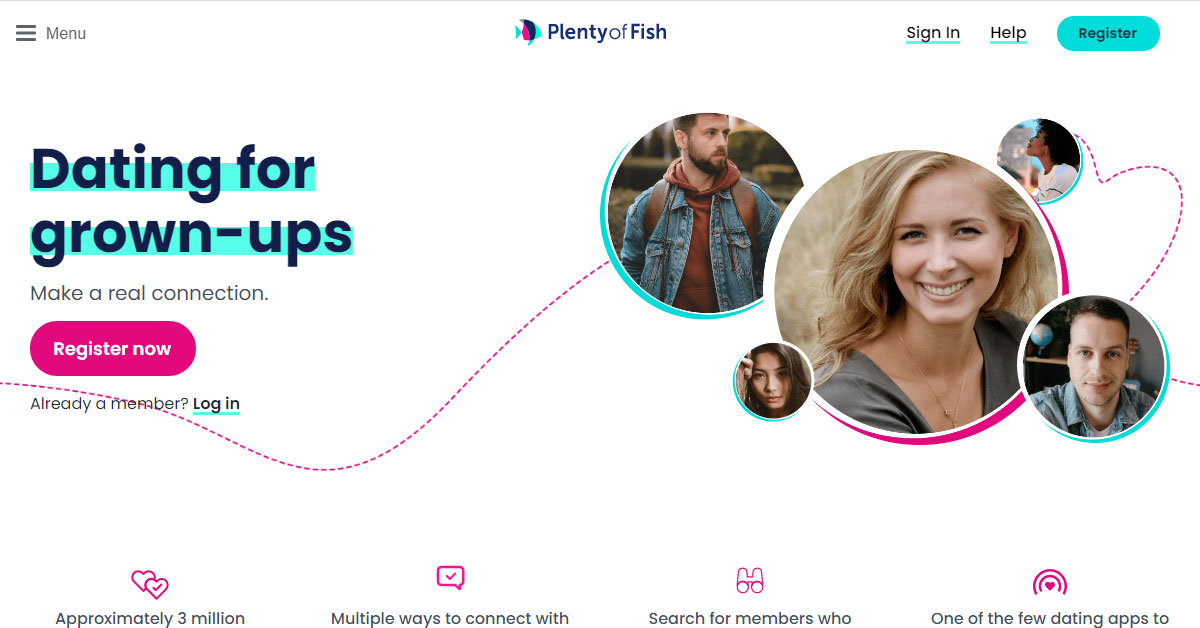 Plenty of Fish's home page