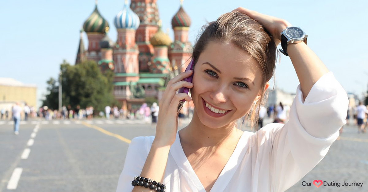 An attractive young Russain woman on phone