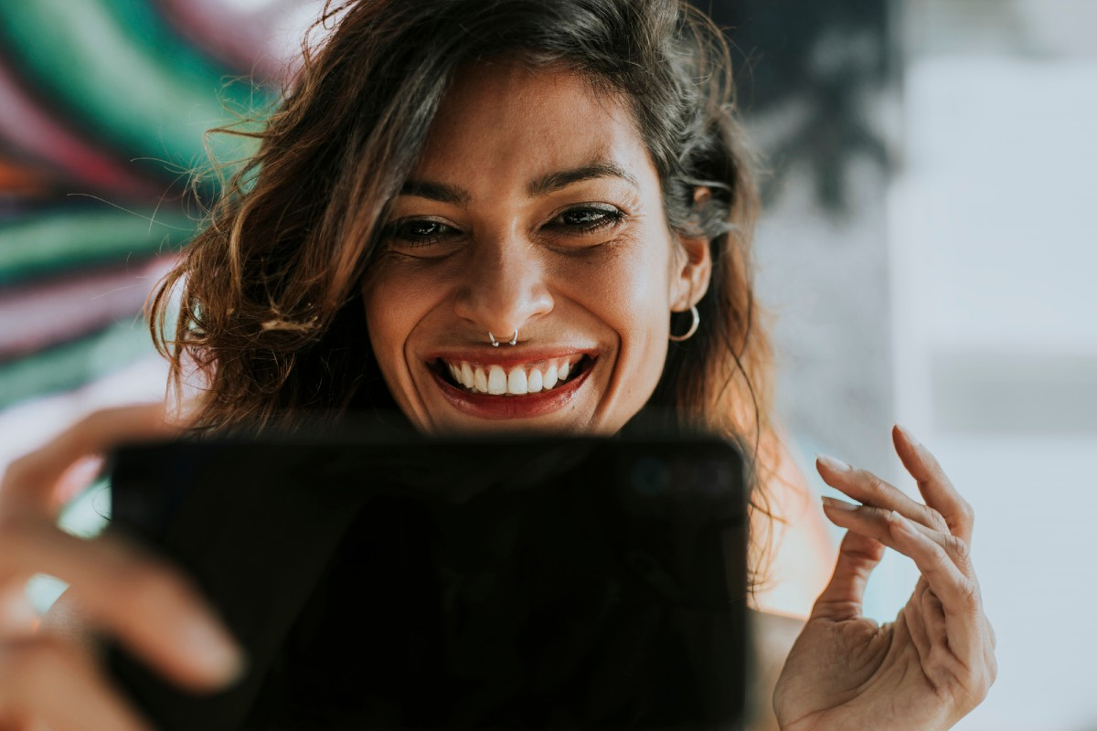 Closeup of a woman having a video chat