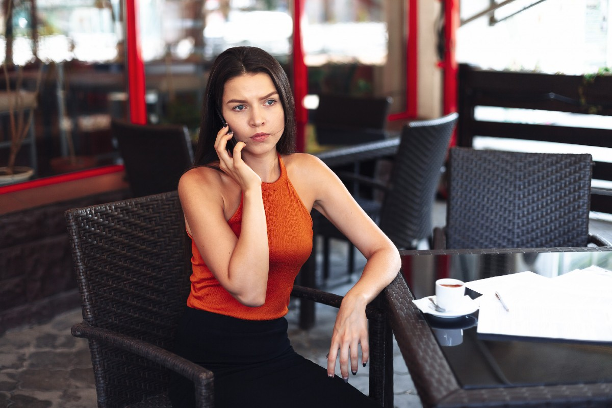 A woman waiting for her date