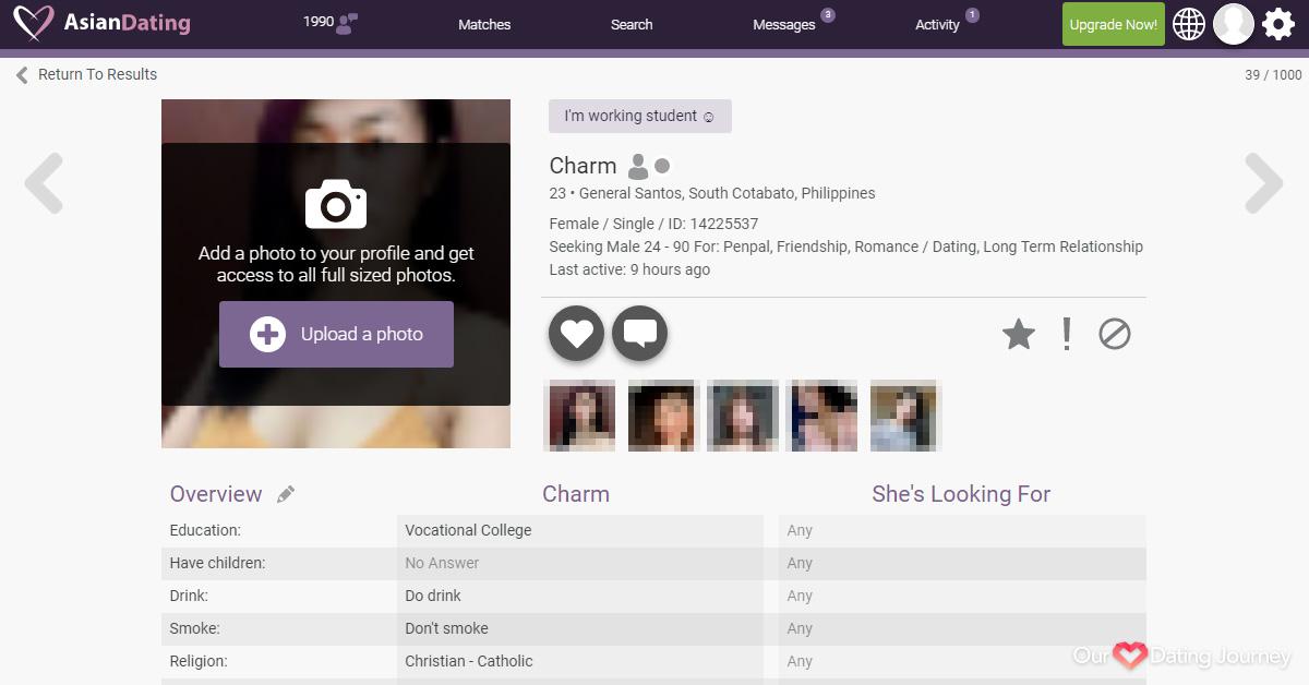 AsianDating Female Member Profile