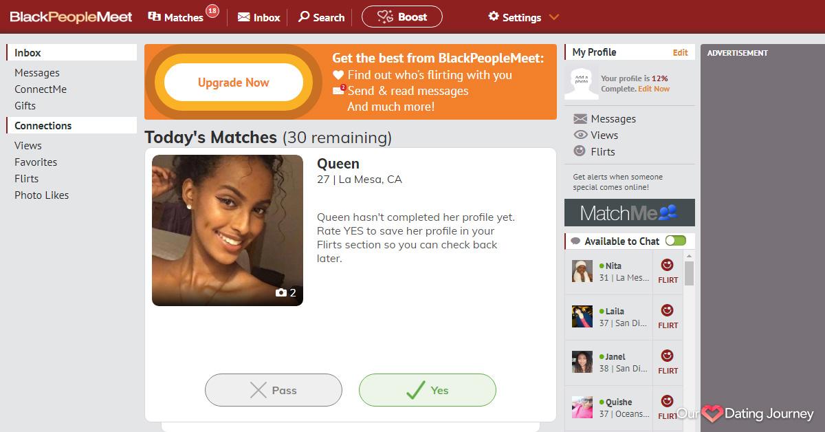BlackPeopleMeet Matching Feature