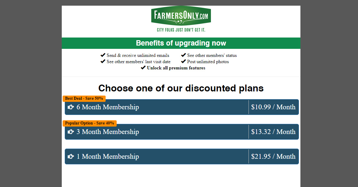 Farmers Only subscription plans
