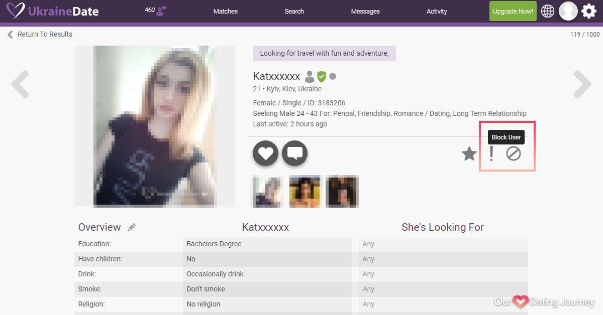 Ukraine Date Block or Report User