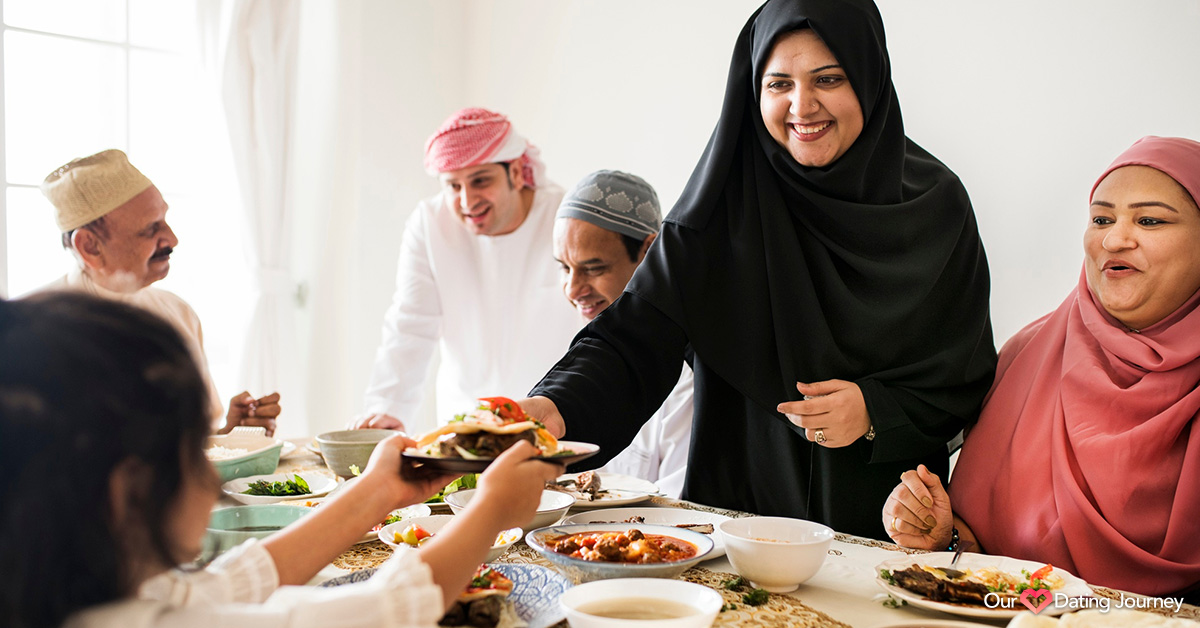 Muslim family sharing a feast