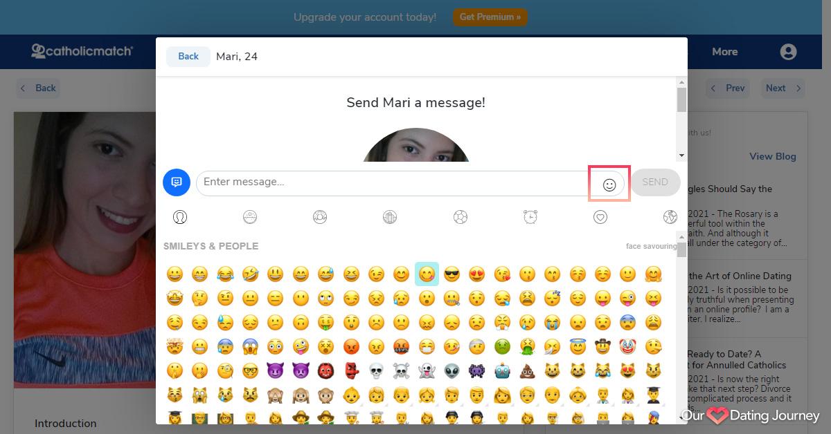 catholic match messaging emojis