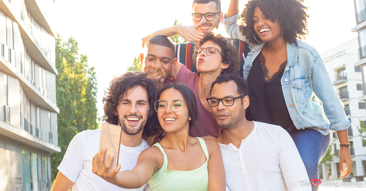 Group of joyful latin people