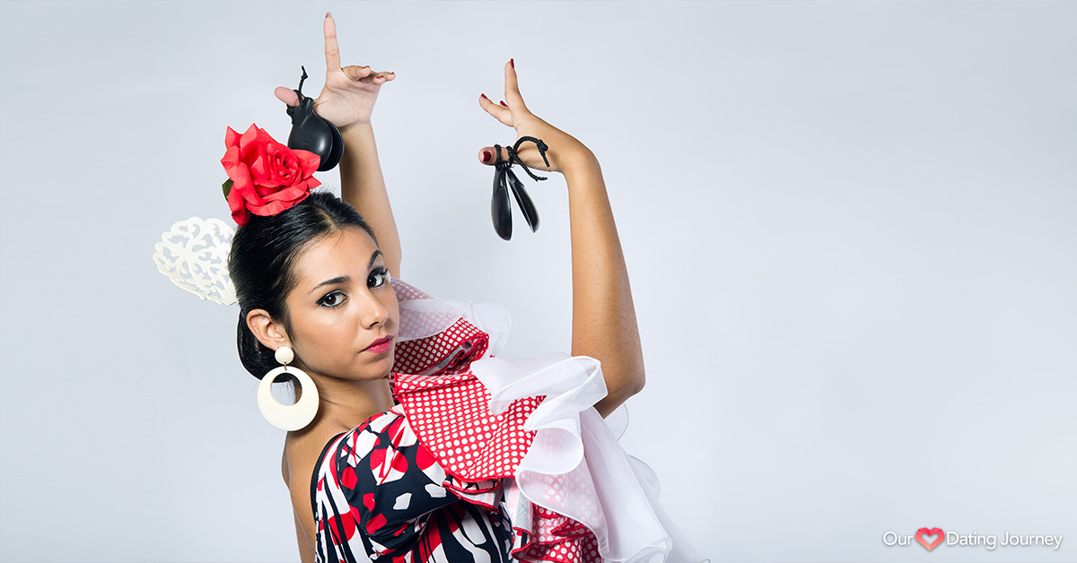 Latin flamenco dancer in red and black